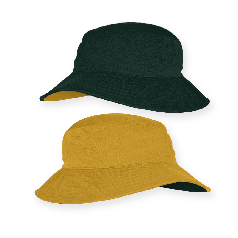 RBT0019_Reverse Bucket Hat_Bottle Green and Aussie Gold_ 800x800