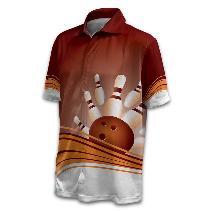 Unisex Bowling Button Up Shirt - Design 016