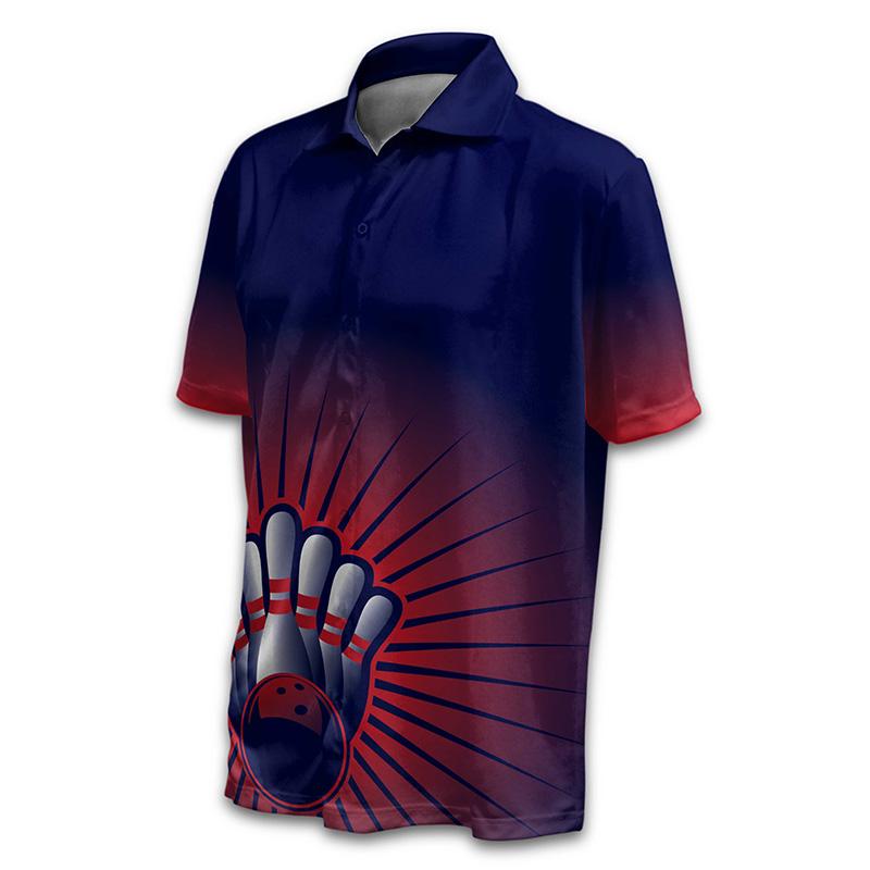 Unisex Bowling Button Up Shirt - Design 019