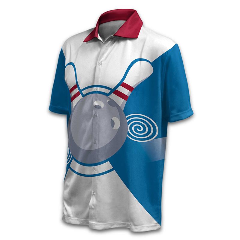 Unisex Bowling Button Up Shirt - Design 022