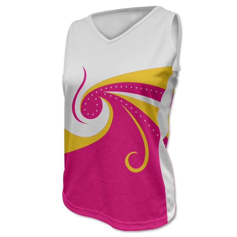 Ladies V Neck Gymnastics Singlet with Side Panels 012