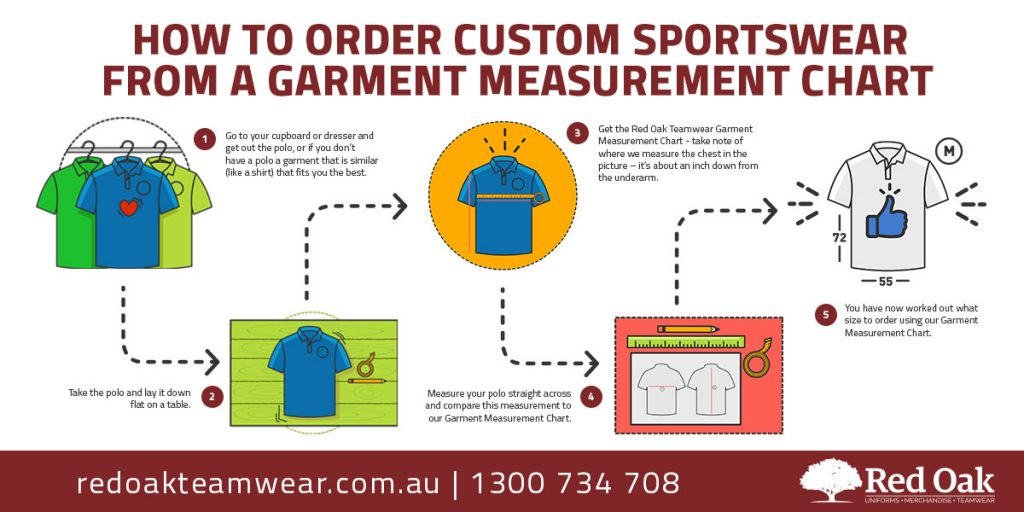 How to order custom sportswear from a garment measurement chart